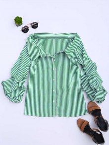 Button Up Puff Sleeve Striped Bloues