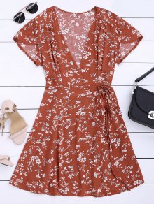 Floral Print Self Tie Wrap Dress - Floral S