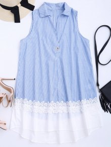 Sleeveless Striped Lace Panel Dress