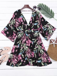 Ralgan Sleeve Floral Cut Out Surplice Dress