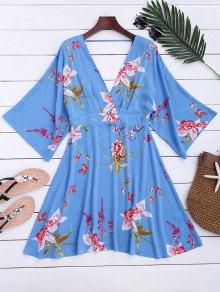 Ralgan Sleeve Floral Surplice A-Line Dress - Floral S