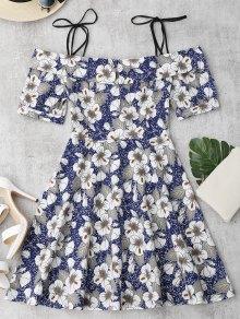 Vestido Con Estampado Floral De Tirante Fino Con Nudo De Lazo - Floral Xl