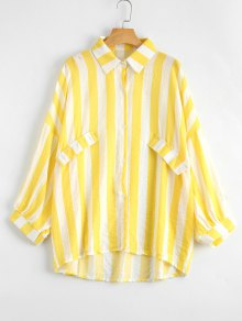Oversized Button Up Striped Blouse - Yellow