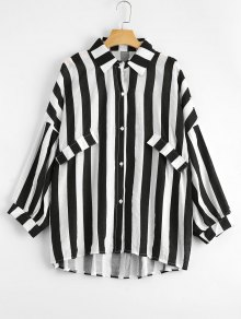 Oversized Button Up Striped Blouse - Black