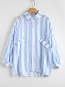 Oversized Button Up Striped Blouse - Sky Blue