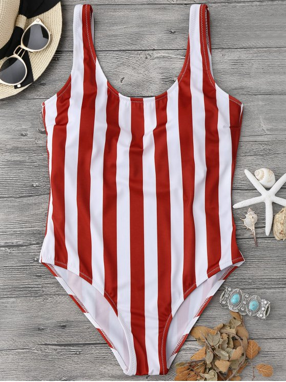 outfits Striped Shaping Padded One Piece Swimsuit - RED WITH WHITE M
