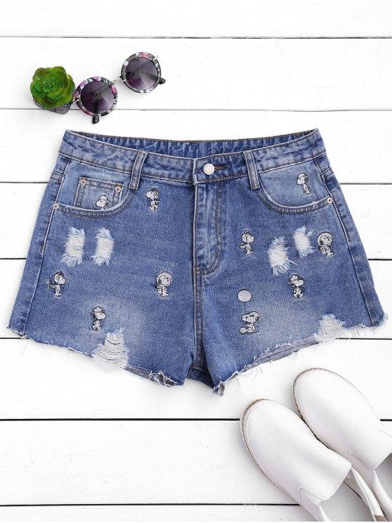 Puppy bordado destruido Denim Shorts - Denim Blue M