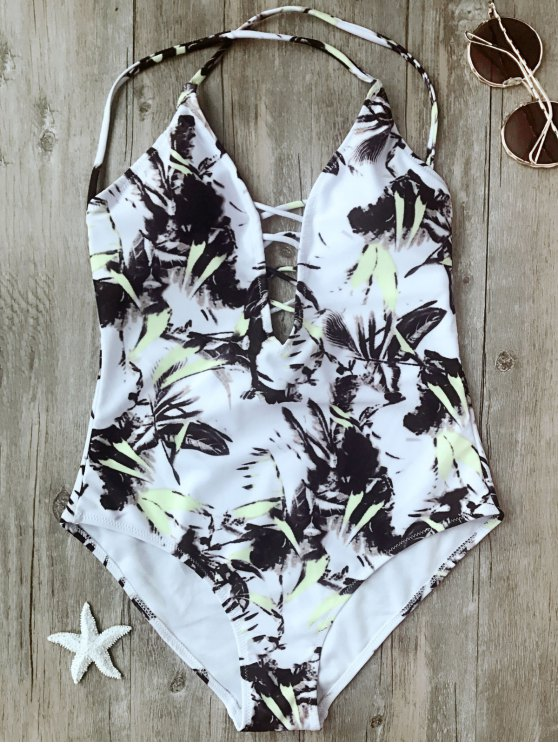 latest Printed Crisscross Plunge One Piece Swimsuit - WHITE XL
