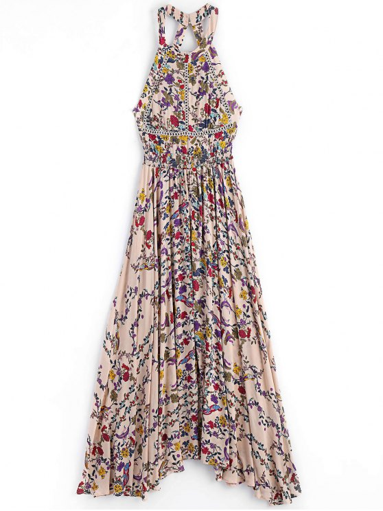 women Floral Slit Cut Out Maxi Dress - FLORAL S