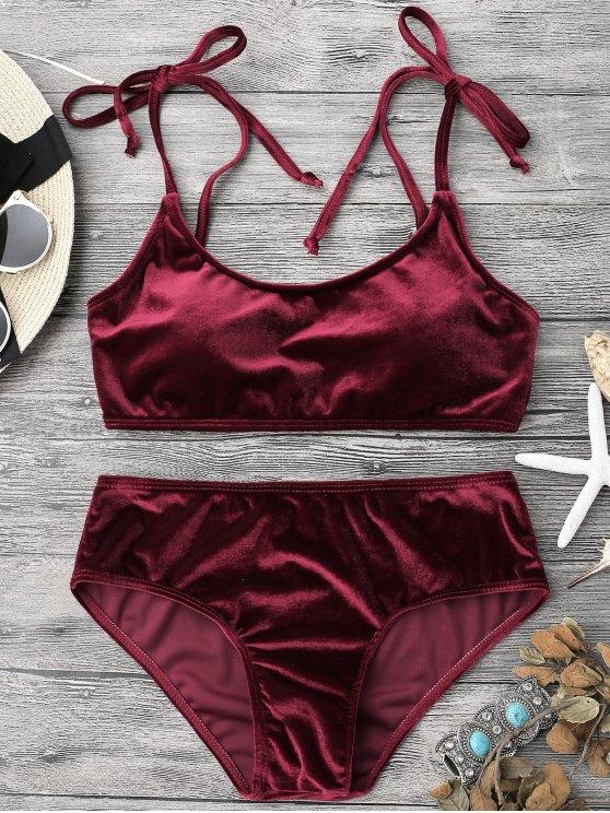 chic Velvet Padded Bralette Bikini Set - BURGUNDY S