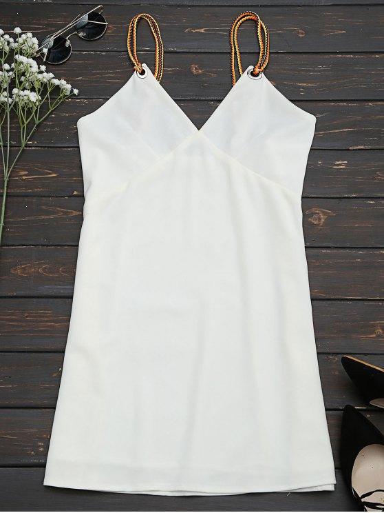 online Braided Straps Mini Slip Dress - WHITE S