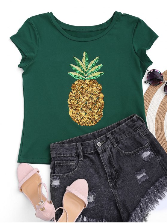 shops Cotton Pineapple Sequins Top - GREEN S
