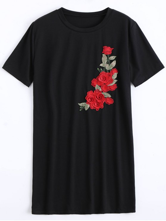 new Round Collar Floral Patched Shift Dress - BLACK XL
