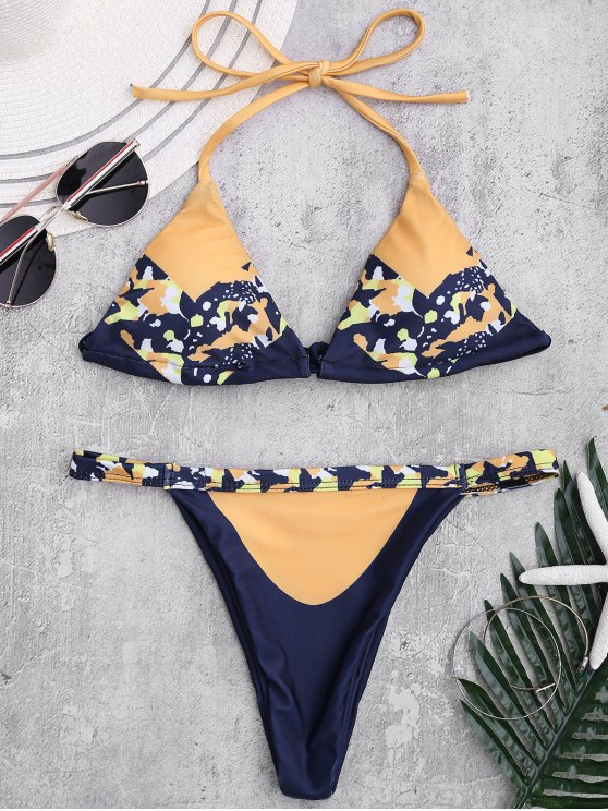 sale Self Tie Printed Halter Bathing Suit - GINGER S