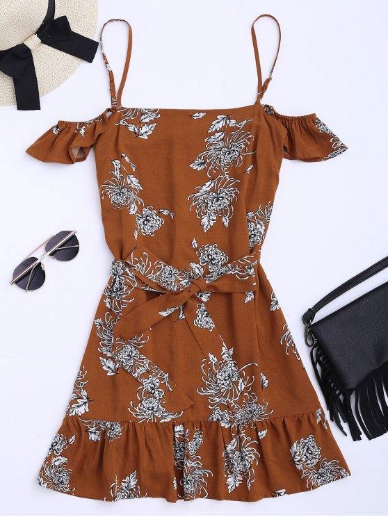 Vestido de Tirantes Finos con Volantes con Estampado Floral con Cinturón - Floral S