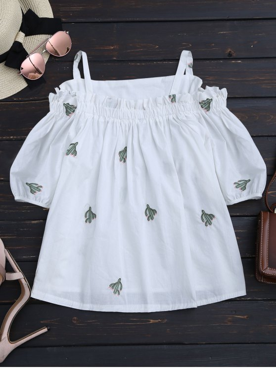 chic Cacti Embroidered Ruffle Hem Cami Blouse - WHITE ONE SIZE