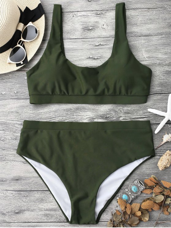 online Midi Bralette Scoop Bikini Set - GREEN M
