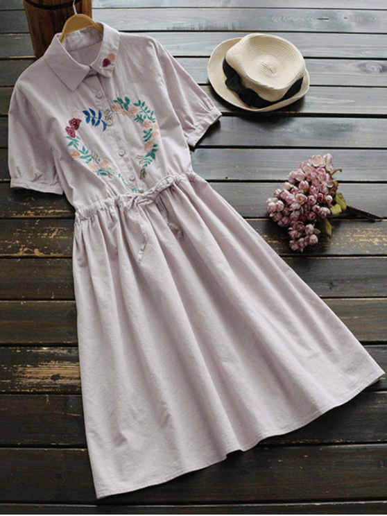 unique Floral Embroidered Drawstring Flare Dress - LIGHT PINK ONE SIZE