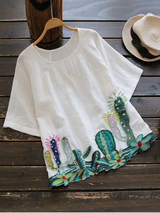 unique Round Collar Cacti Embroidered Blouse - WHITE ONE SIZE