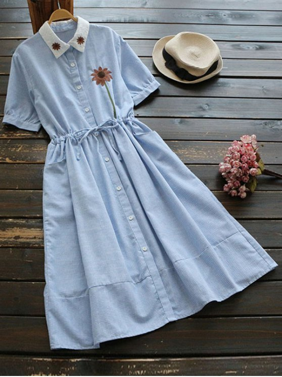 hot Floral Patched Button Up Striped Dress - LIGHT BLUE ONE SIZE