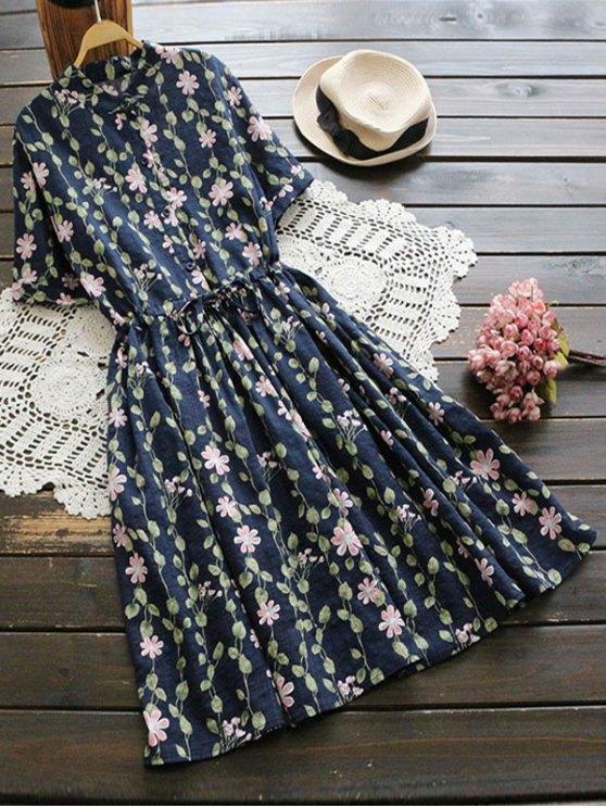Robe d'évasement à motifs floraux - Bleu Foncé TAILLE MOYENNE