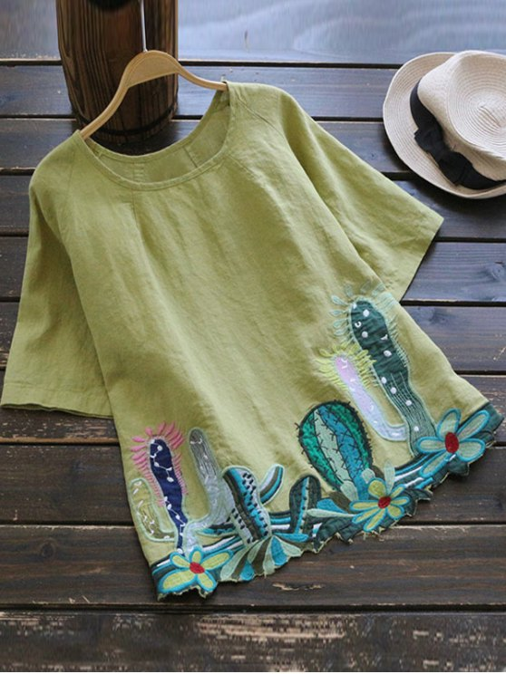 sale Round Collar Cacti Embroidered Blouse - YELLOW GREEN ONE SIZE