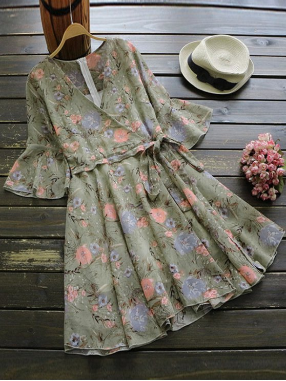 chic Floral Print Flare Sleeve Surplice Dress - FLORAL ONE SIZE