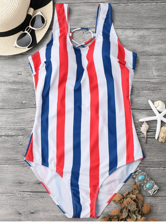 unique Lace Up Stripes Swimwear - BLUE AND RED M