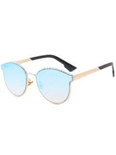 Butterfly Piebald Frame Spliced Sunglasses - Ice Blue