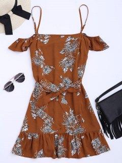 فستان طباعة الأزهار كشكش مربوط كامي - الأزهار S