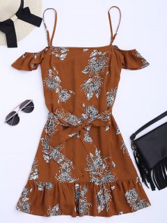 Floral Print Ruffled Belted Cami Dress - Floral M