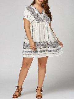 Plus  Size  V  Neck Bohemian Smock Dress - White 2xl