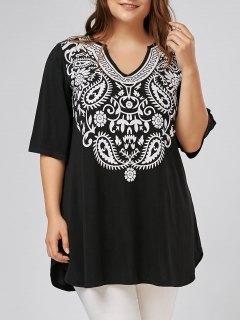 V Neck Printed Plus Size Tunic Top - Black 5xl