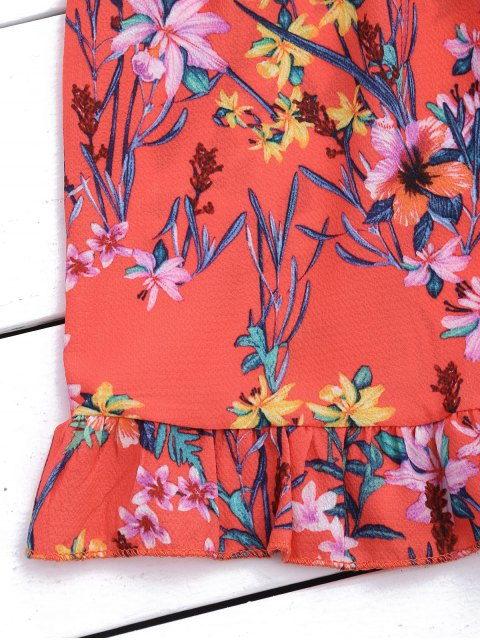 trendy Layered Ruffles Off Shoulder Romper - FLORAL M Mobile