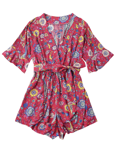 chic Belted Floral Ruffles Surplice Romper - FLORAL XL Mobile