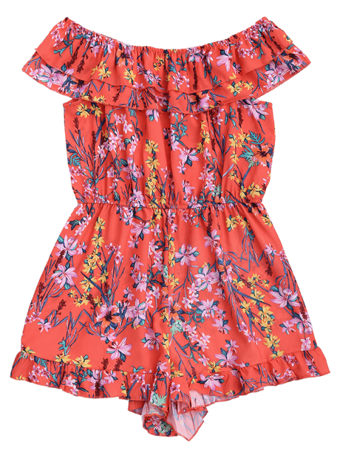 affordable Layered Ruffles Off Shoulder Romper - FLORAL L Mobile