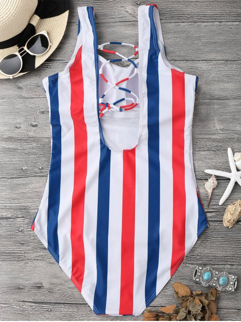 sale Lace Up Stripes Swimwear - BLUE AND RED S Mobile
