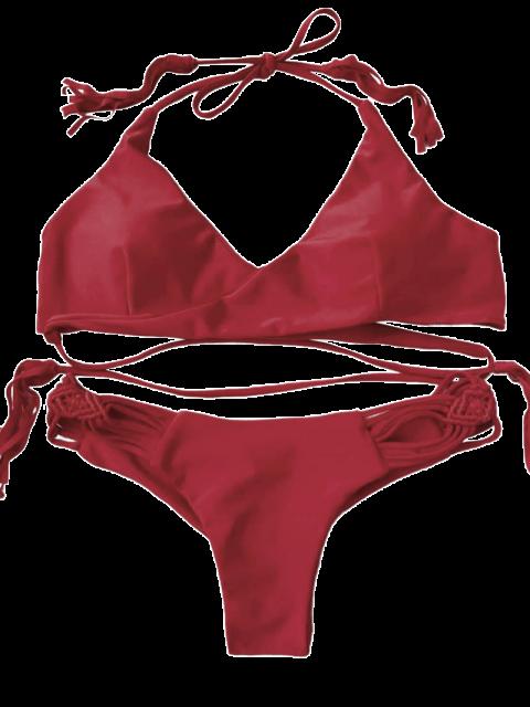 new Tasselled Macrame Halter Wrap Bikini Set - RED S Mobile