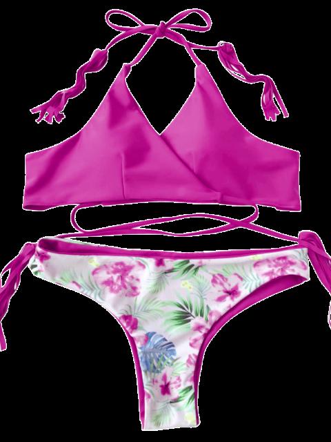 hot Macrame Tropical Print Wrap Bikini Set - ROSE RED L Mobile