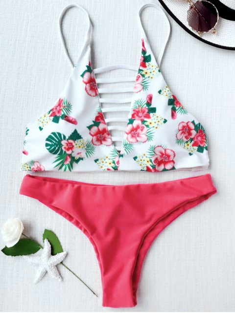 latest Floral Print Lattice Strappy Bikini Set - RED WITH WHITE S Mobile