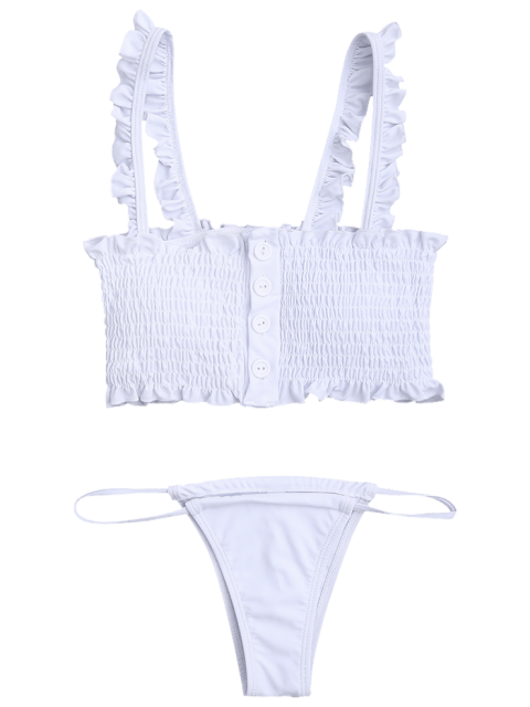 womens Single-Breasted Smocked Ruffles Top with Briefs - WHITE L Mobile