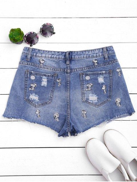 online Puppy Embroidered Destroyed Denim Shorts - DENIM BLUE S Mobile