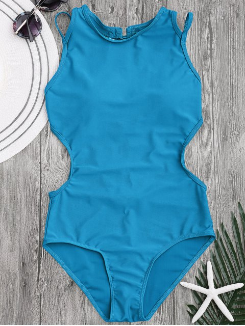 fancy Padded Back Strappy Swimwear - LAKE BLUE S Mobile