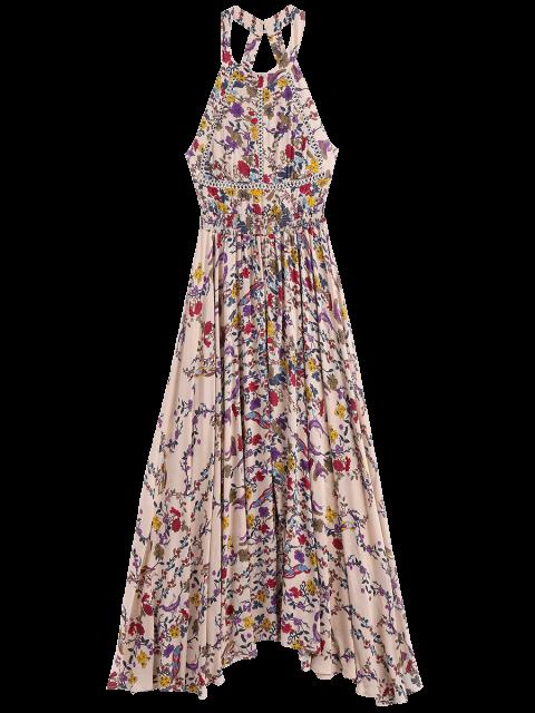 women Floral Slit Cut Out Maxi Dress - FLORAL S Mobile