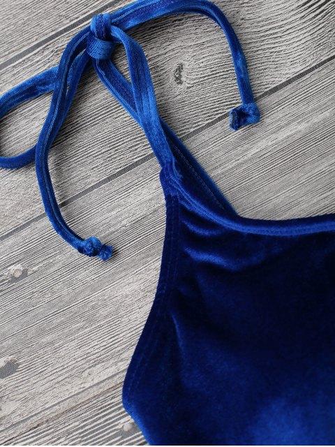 womens Velvet Padded Bralette Bikini Set - SAPPHIRE BLUE S Mobile