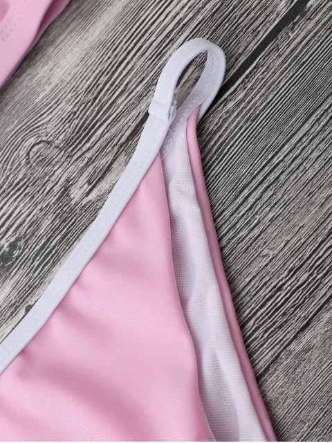 women Soft Pad String Bikini Top and Bottoms - PINK L Mobile