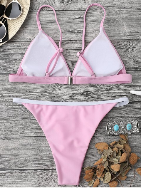 ladies Soft Pad String Bikini Top and Bottoms - PINK S Mobile