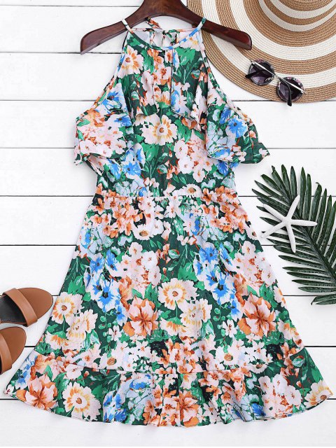 outfit High Neck Ruffles Floral A-Line Dress - FLORAL S Mobile