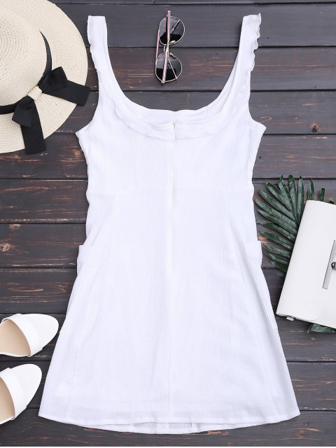 outfits Ruffles Button Up Mini Dress with Two Pockets - WHITE M Mobile