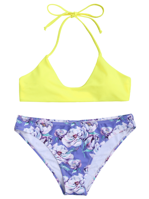 sale Halter Bra with Floral Swim Bottoms - YELLOW L Mobile